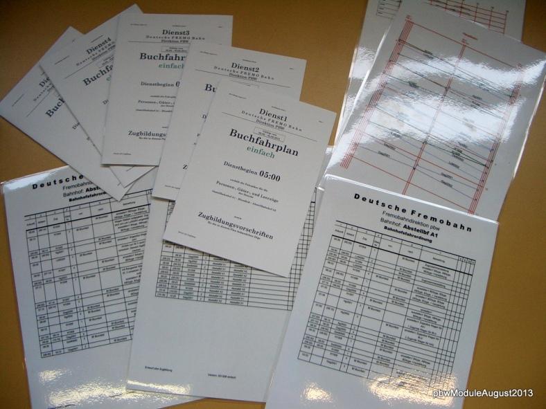 Abb: notwendige Unterlagen zum Fahren nach Fahrplan cFREMO