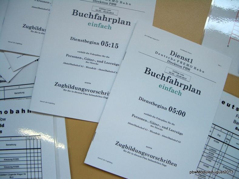 Abb: Die Buchfahrpläne